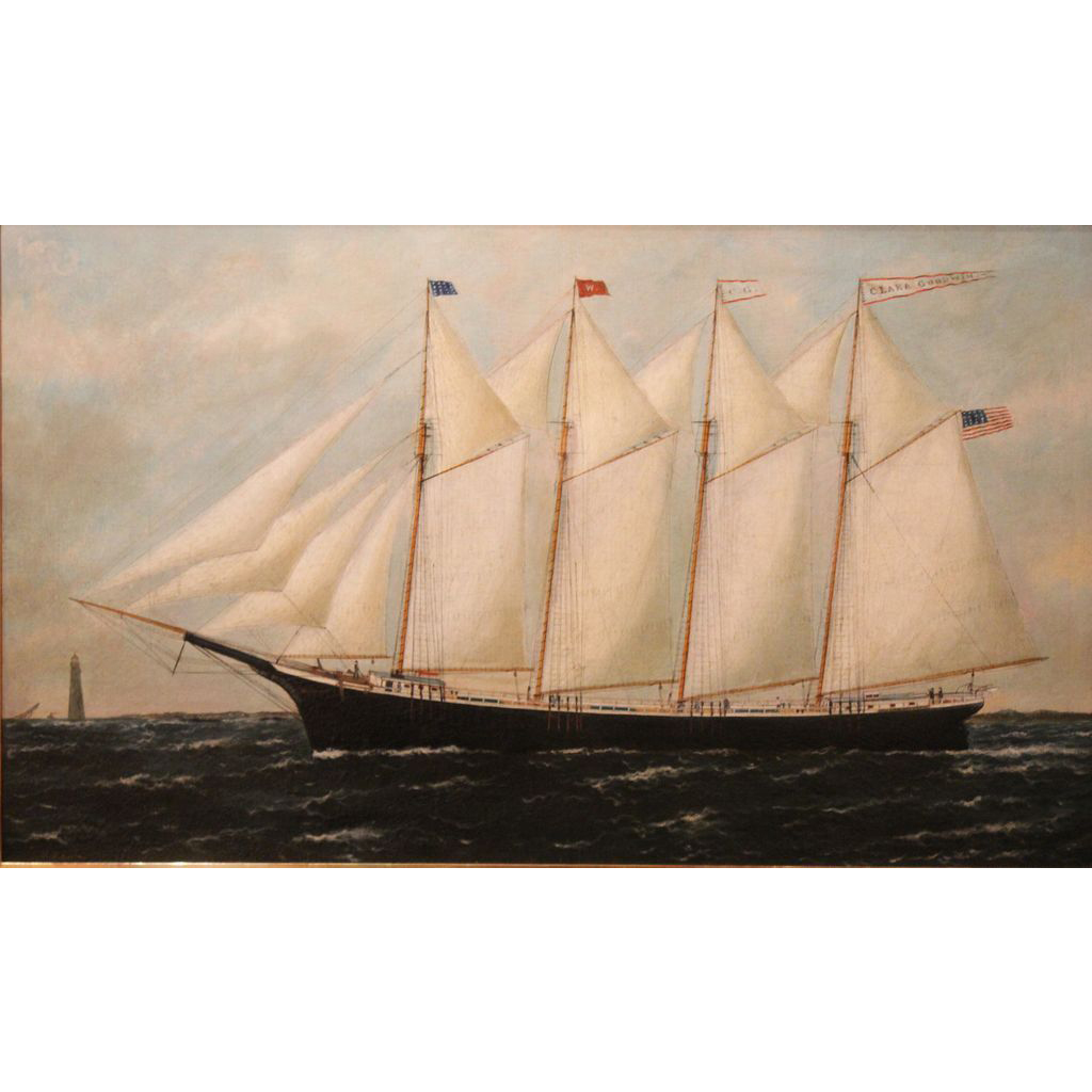 schooner drawing oil paint