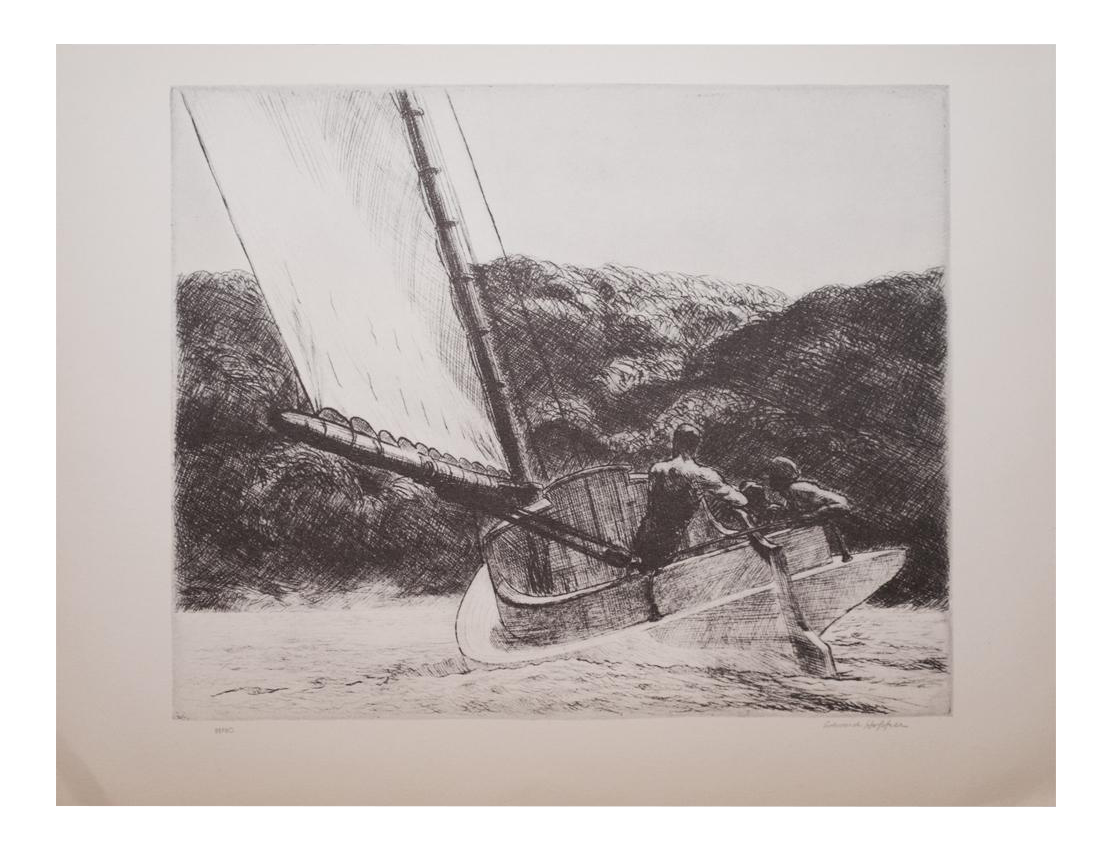 Drawing comparisons lithograph. Edward hopper the catboat