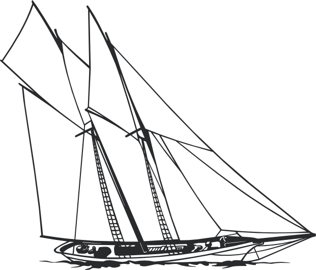 Schooner drawing sea. Silhouette wall decal stickersstickers