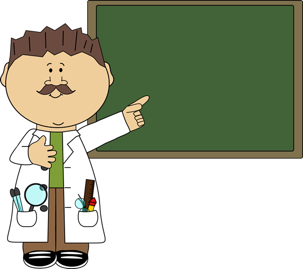 Science clipart presentation. Teacher pointing to chalkboard