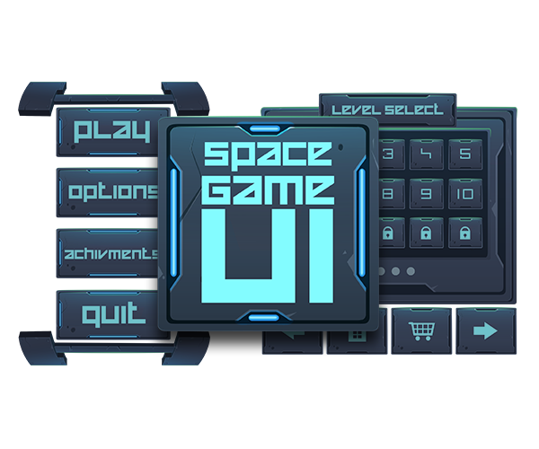 Scifi vector game ui. Royalty free gui art