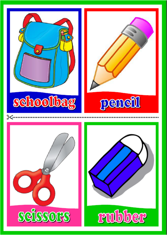 Scissors clipart classroom object. Objects flashcards materials for