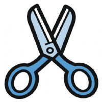 Scissors clipart classroom object. English exercises objects