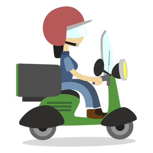 Scooter vector design. Delivery woman riding transparent