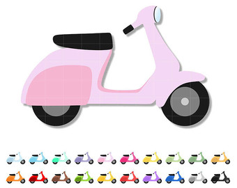 Scooter clipart pink scooter. Vespa etsy doodle cute