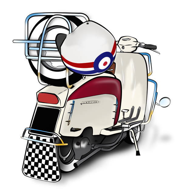 Scooter vector art. Mod and scooterist artwork
