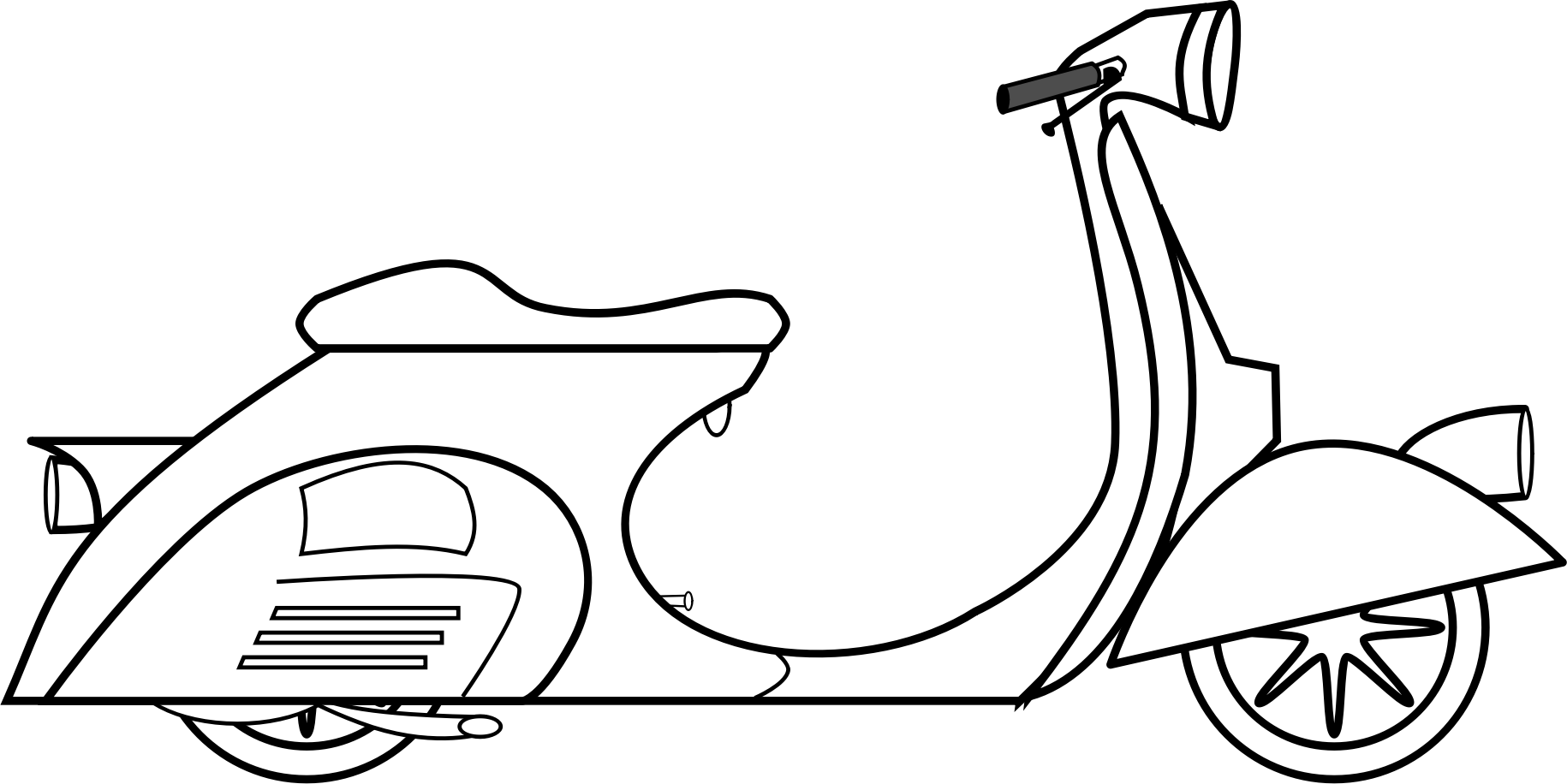 Scooter vector black and white. Graphic transparent stock