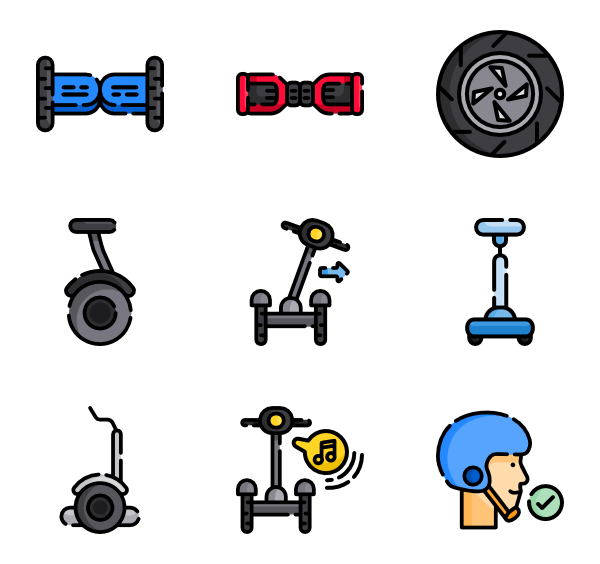 Scooter vector electric. Icons free self balancing