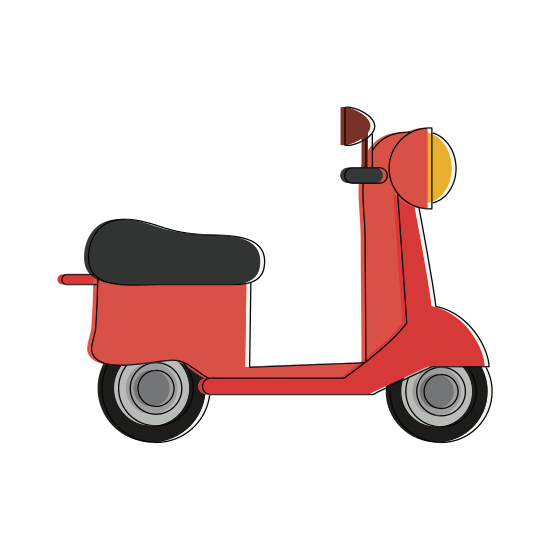Scooter vector retro. Vintage motorcycle icons by
