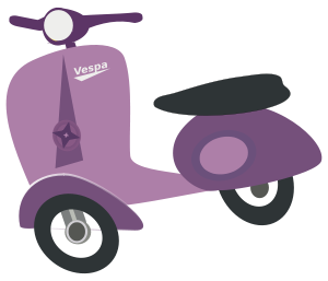 Scooter vector top view. Purple vespa by chatard