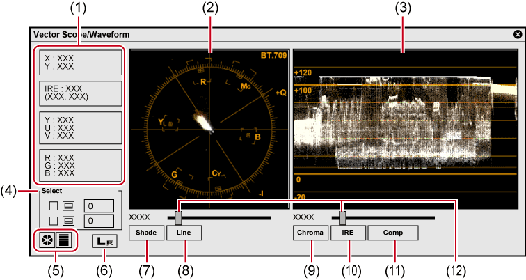 Checking color data scopewaveform. Vector screening pc screen picture transparent
