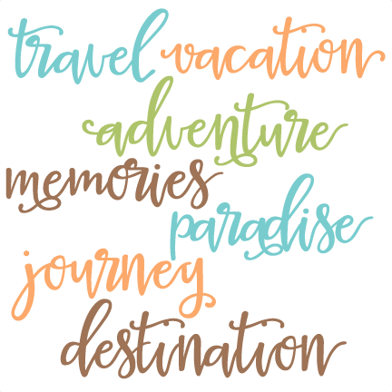 Scrapbook clipart word. Travel words set svg