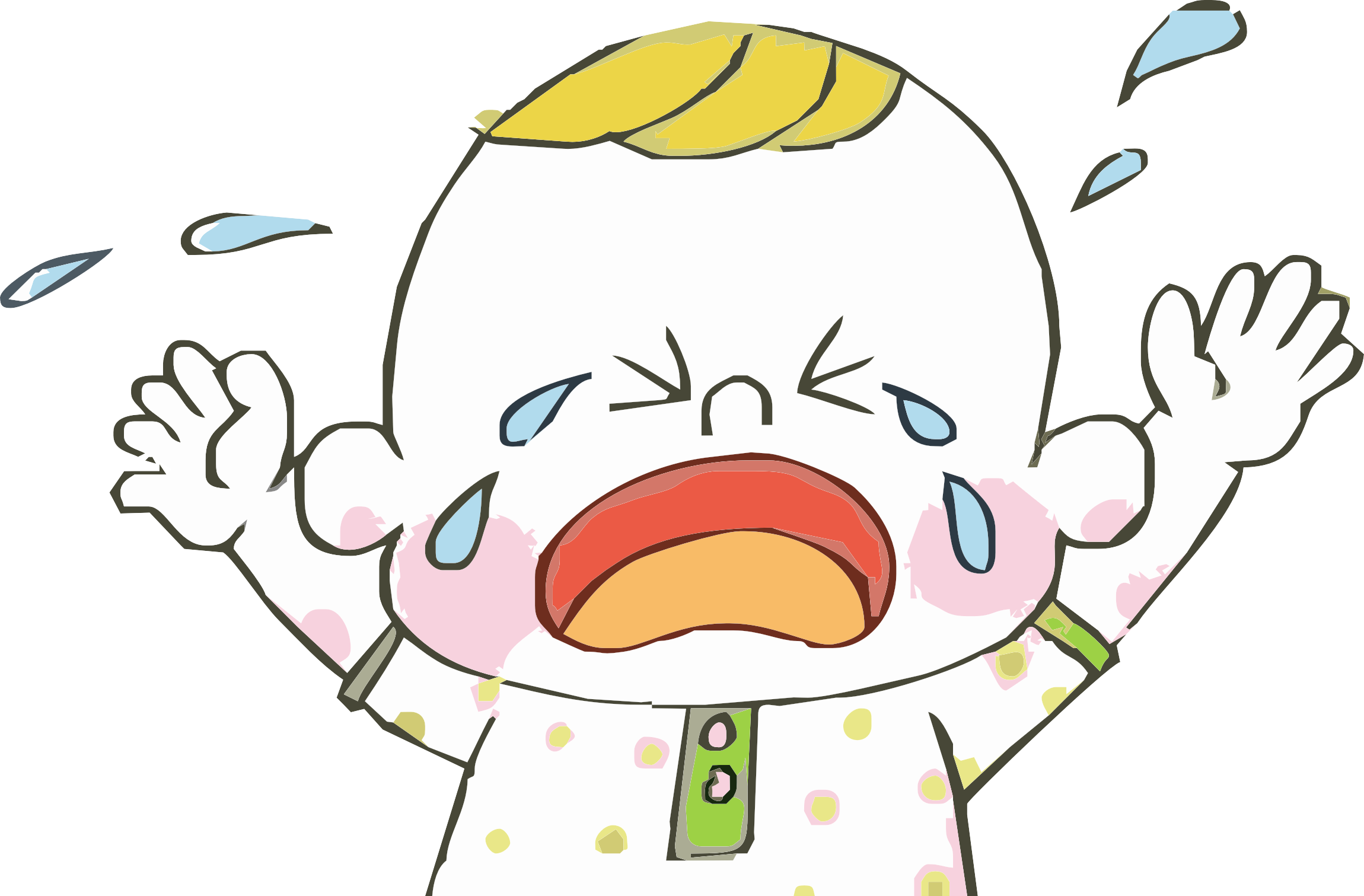 Screaming child vector png. Crying infant cartoon tears