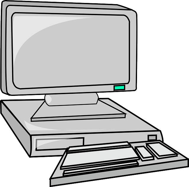Drawing keyboard animated computer. Monitor flat desk cartoon