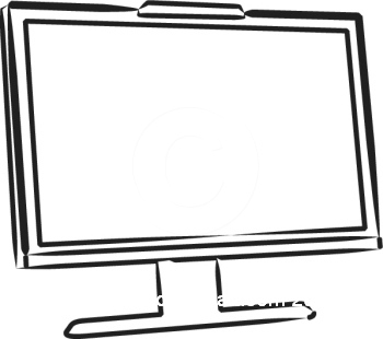 Screen clipart output device. Computer collection black and