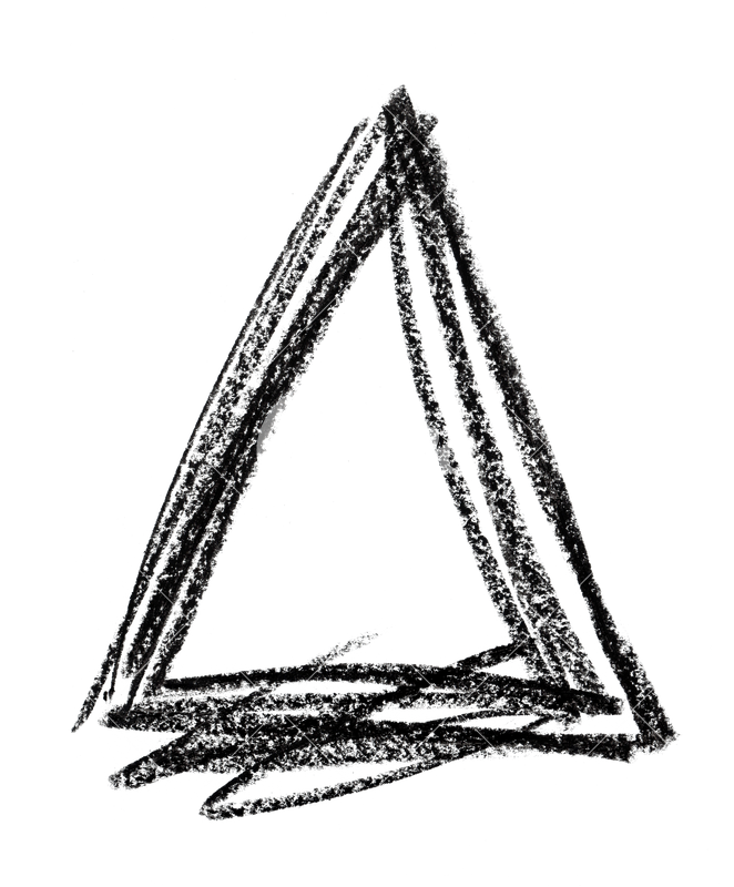 Scribble triangle png. Shape made with black