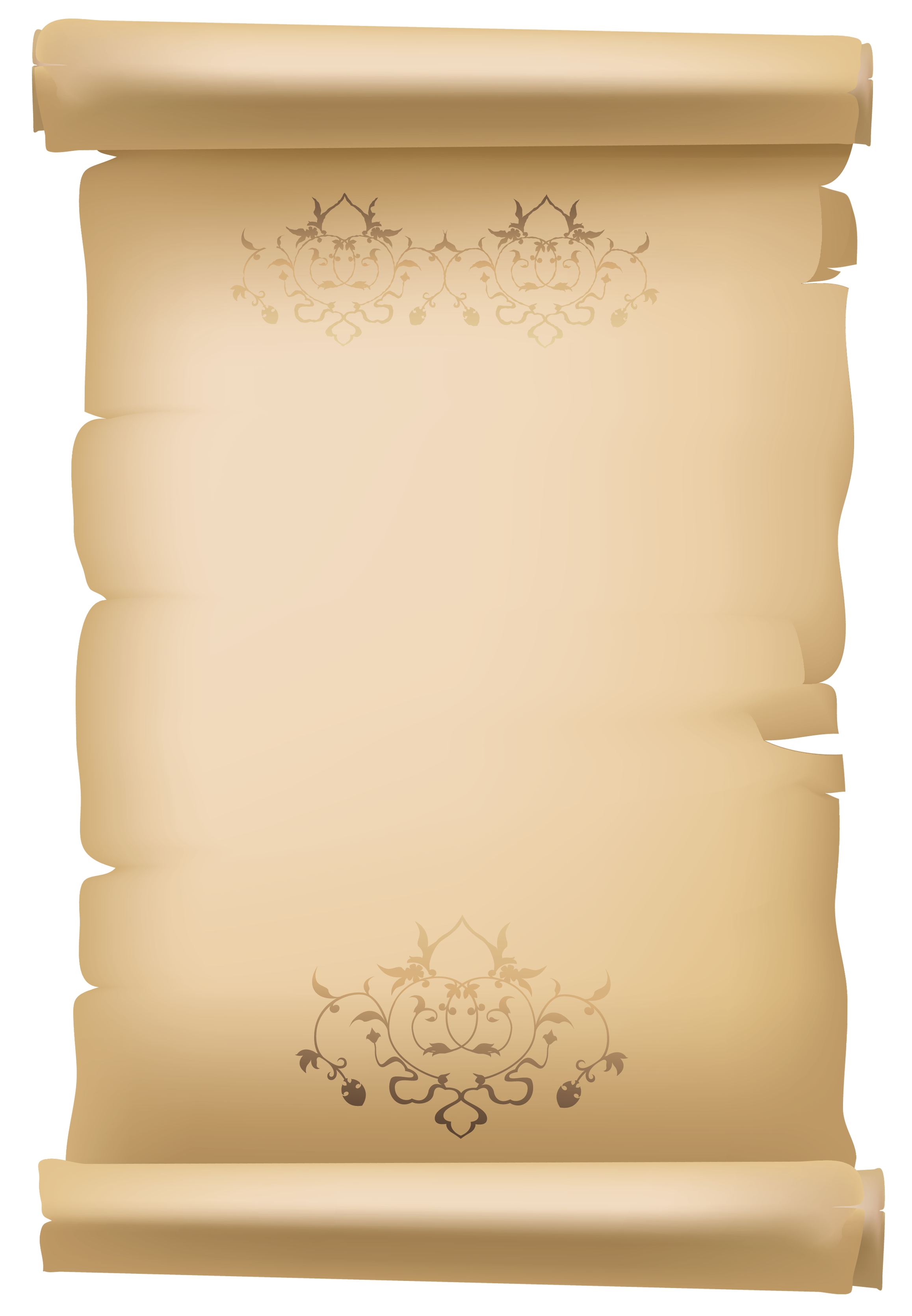 Scroll parchment png. Old decorative paper clipart