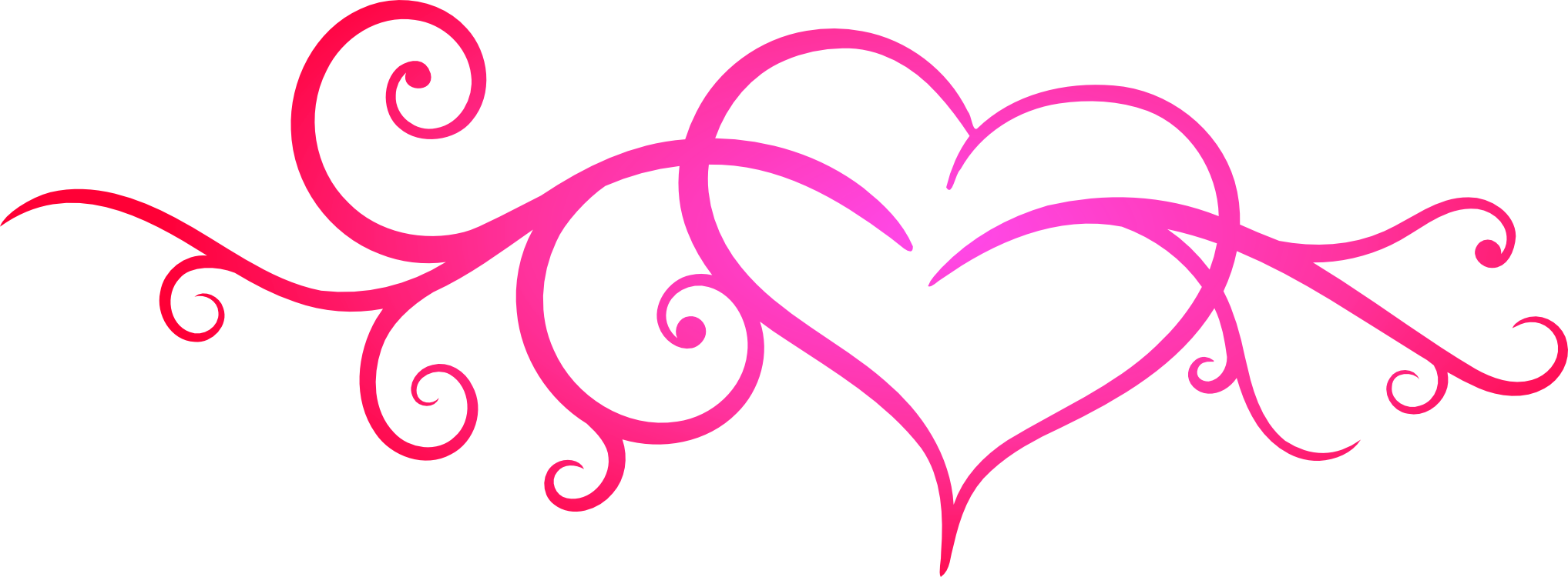 Pink flourish png. Free scrollwork heart cliparts