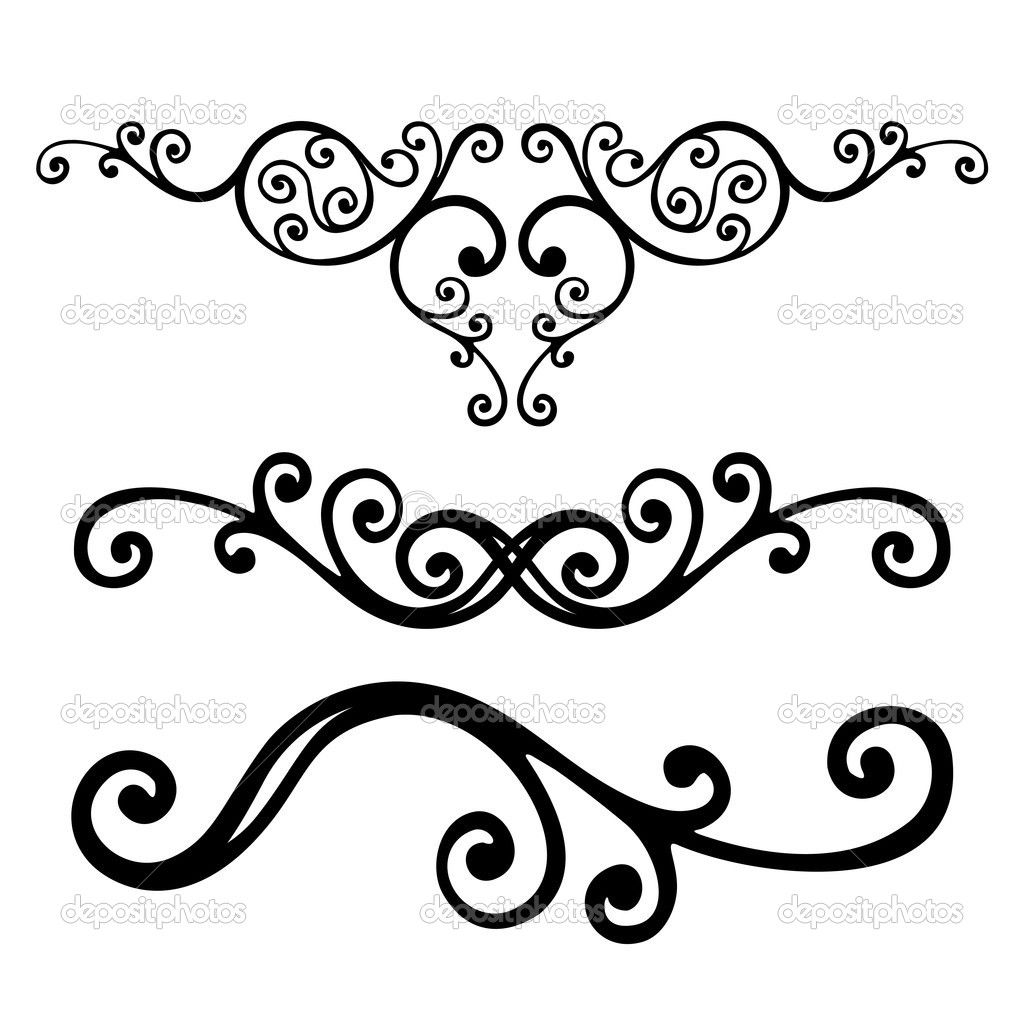 Scrollwork clipart wall decal. Victorian style scroll work