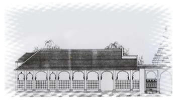 Sculptural drawing architectural. Temple architecture
