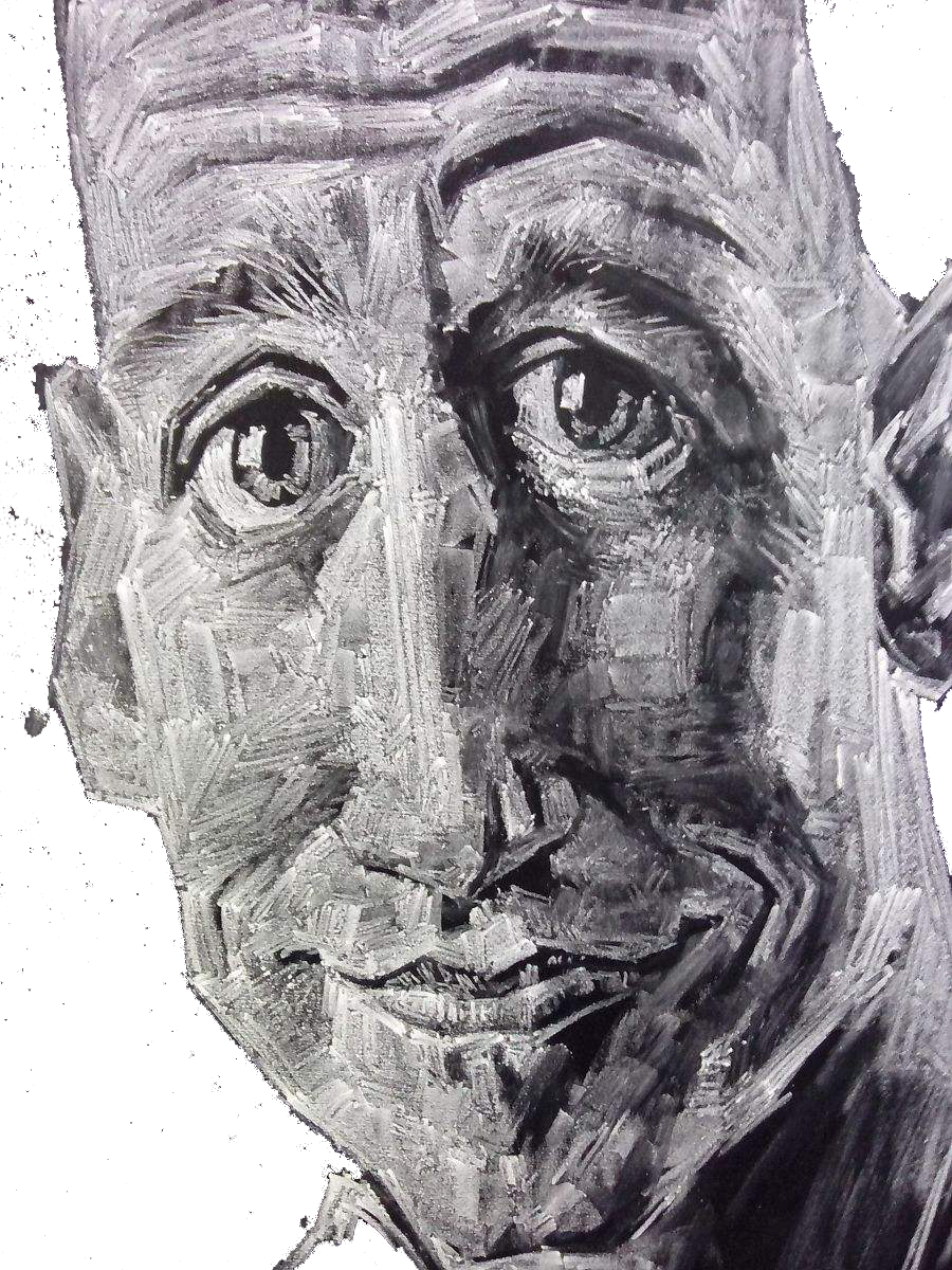 Self drawing black and white. Visual arts portrait chalk