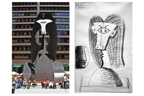 Sculptural drawing city. The making of picasso