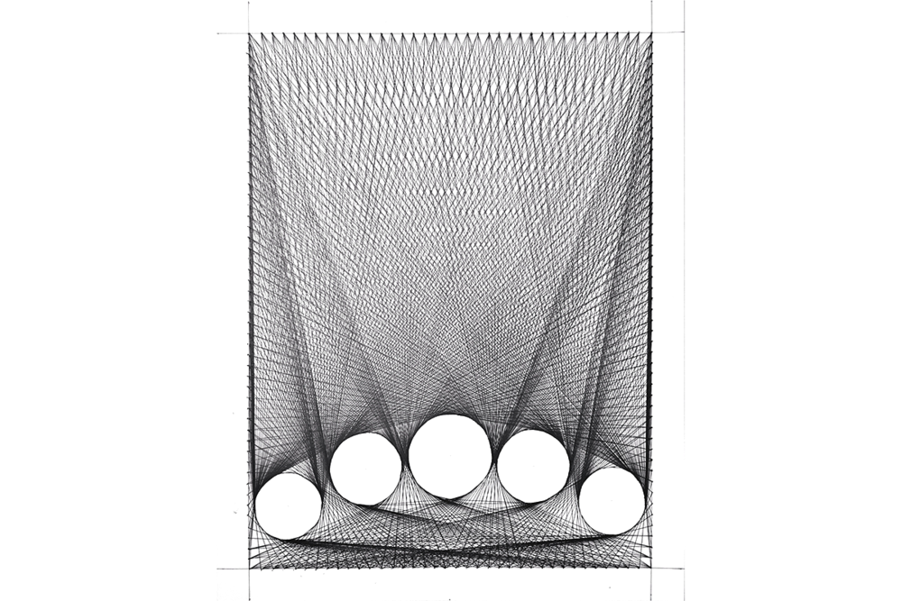 Sculptural drawing composite. For string sculpture knezo