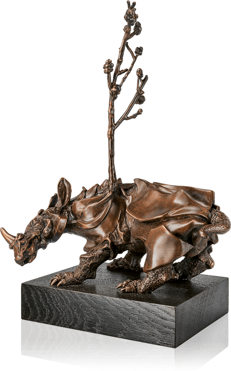 Sculptural drawing famous. Bronze sculpture rhinozeros by