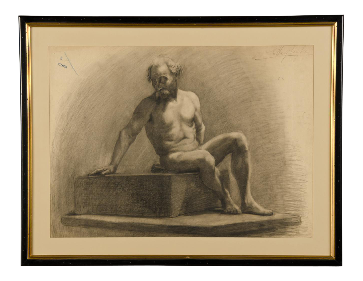 Sculptural drawing figure. Exceptional french academy of