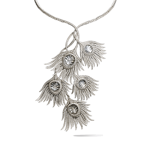 Sculptural drawing jewelry. White peacock necklace carrera