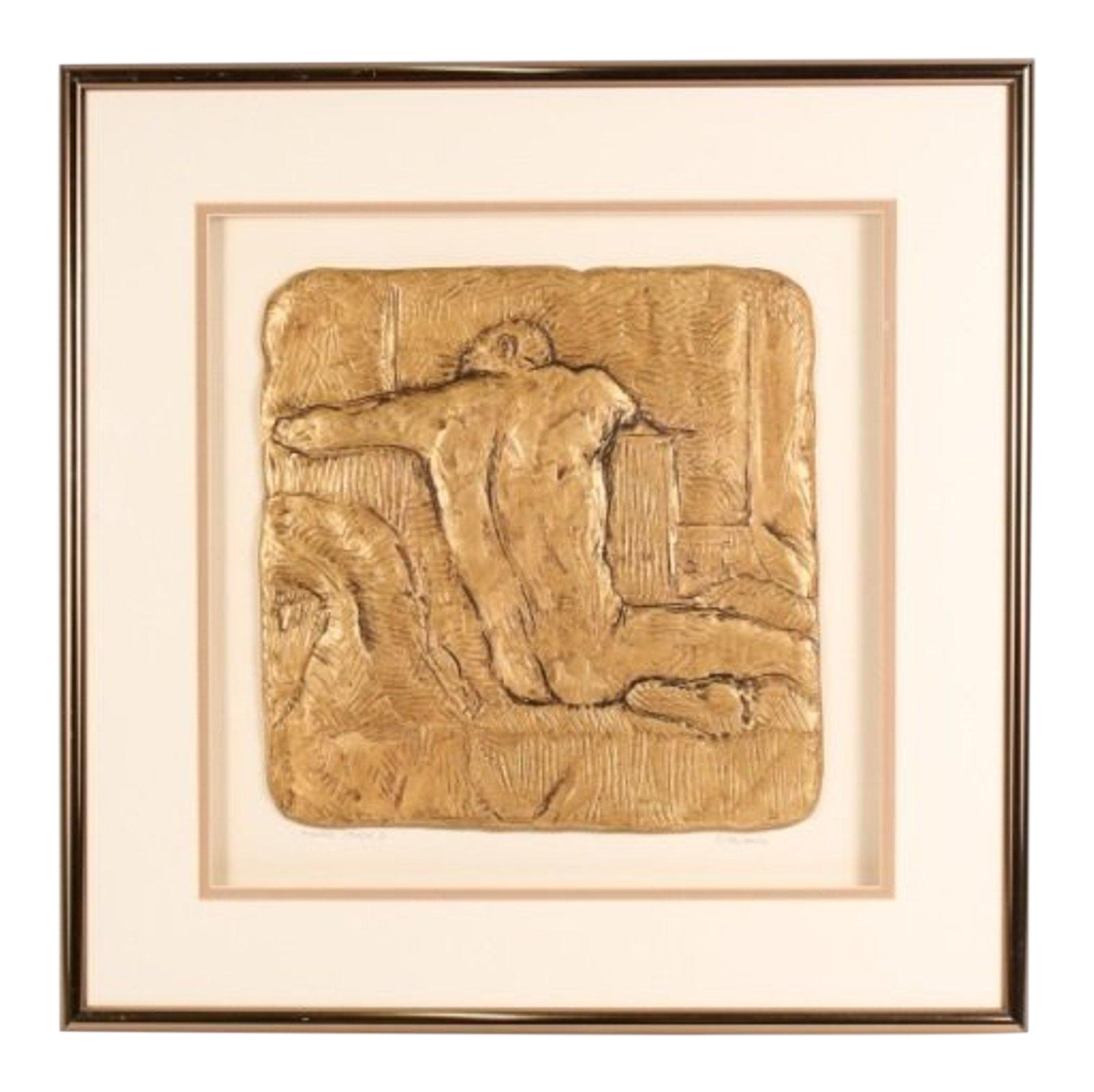 Sculptural drawing pencil. Figure study i framed