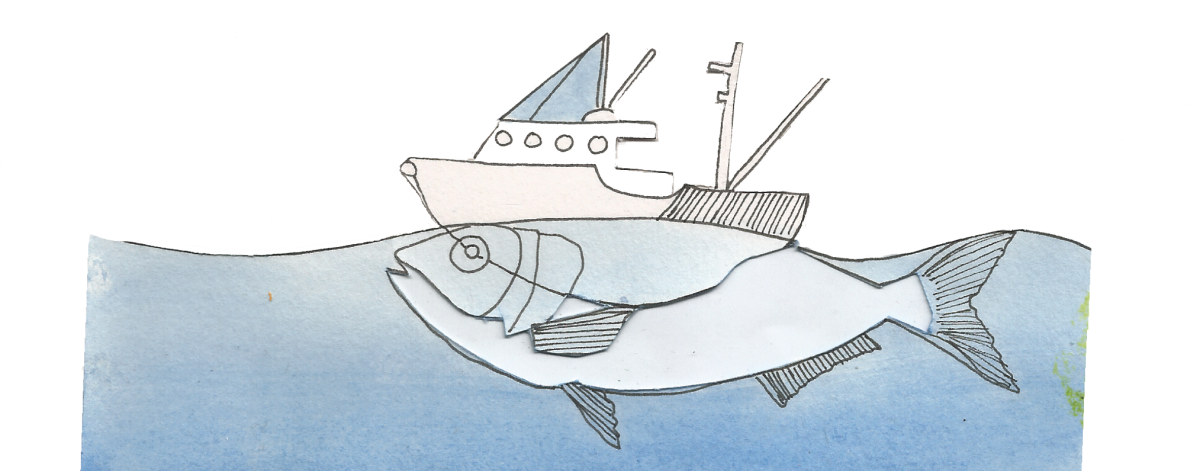 Seafood drawing climate change. Climefish nofima illustration by