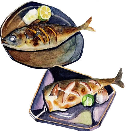 Seafood drawing fish dish. Barbecue roasting food illustration