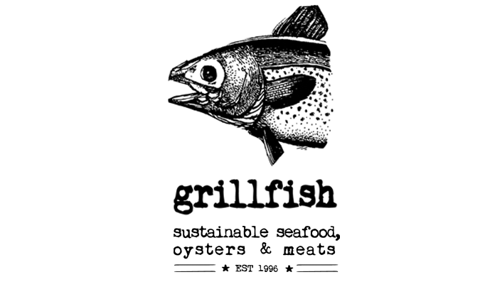 Seafood drawing grilled fish. Grillfish logo dc happy