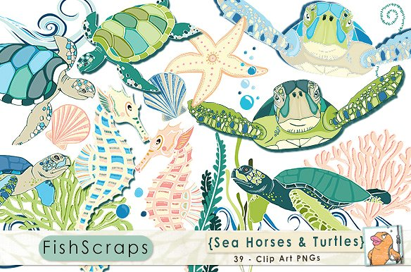 Seahorse clipart sea turtle. Horses and turtles illustrations