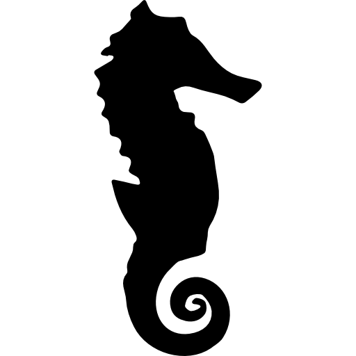 Drawing seahorse graffiti. Silhouette icons free download