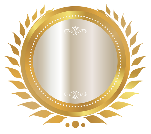Certificate seal png. Gold and white clipart