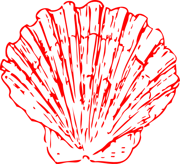 Seashell outline png. Red clip art at