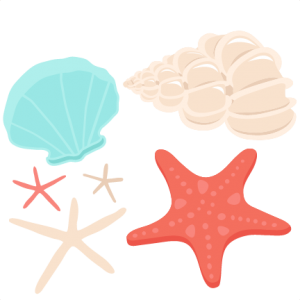 Seashells clipart pretty. Seashell set svg scrapbook