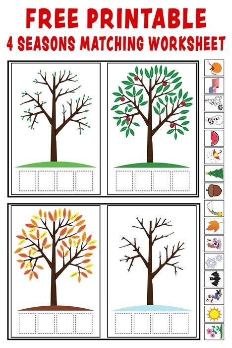 Season clipart kindergarten. Match up free printable