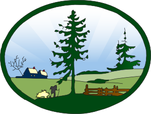 Country scene clip art. Land vector countryside picture black and white