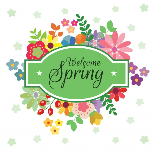 Season clipart welcome. Spring free card decorative