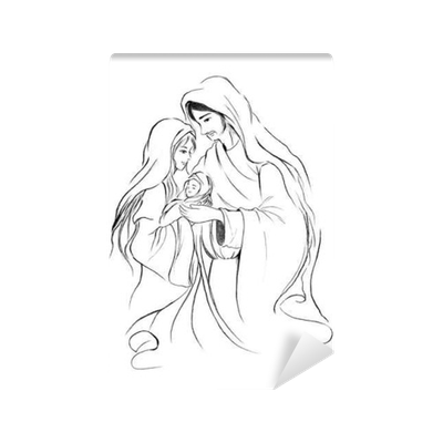 Season drawing background. Baby jesus mary and