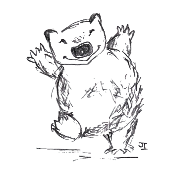Success drawing poem. Dancing wombat poetry have