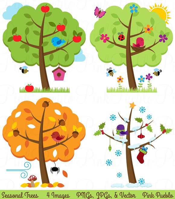 Four trees vectors illustrations. Seasons clipart clipart black and white library