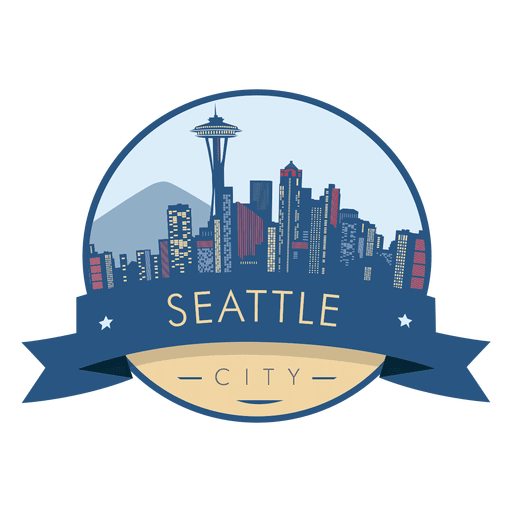 Skyline badge transparent png. Seattle vector image freeuse library