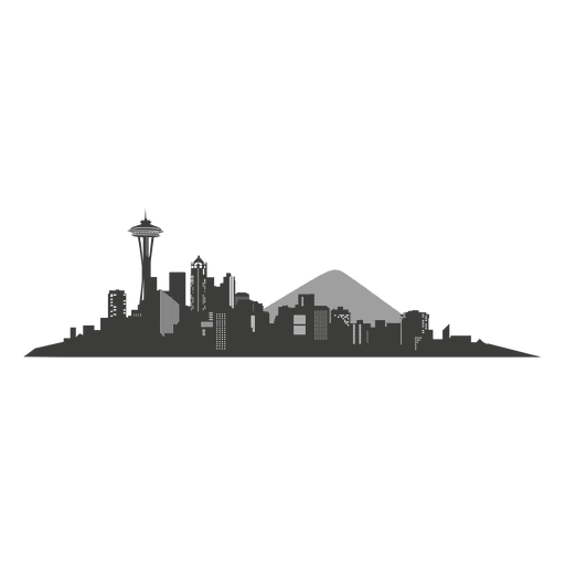 Seattle vector svg. Skyline silhouette transparent png