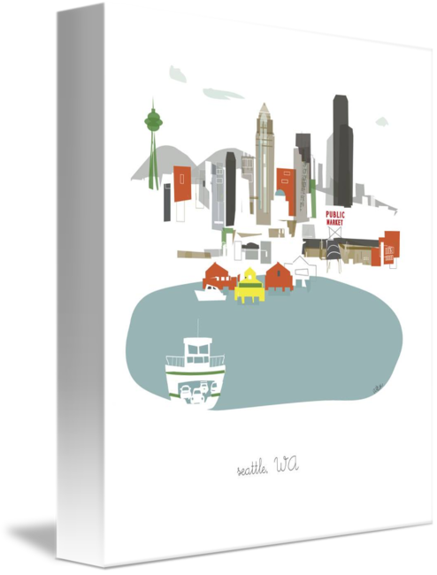 Seattle vector city scape. Modern cityscape illustration by