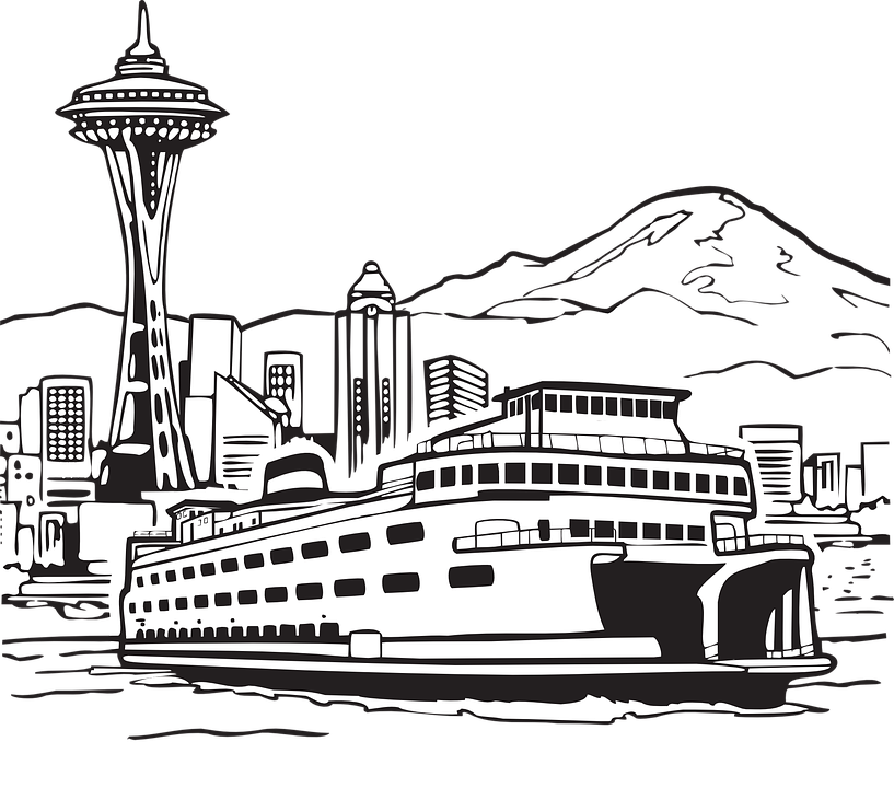 Seattle vector city scape. Free photo ferry space