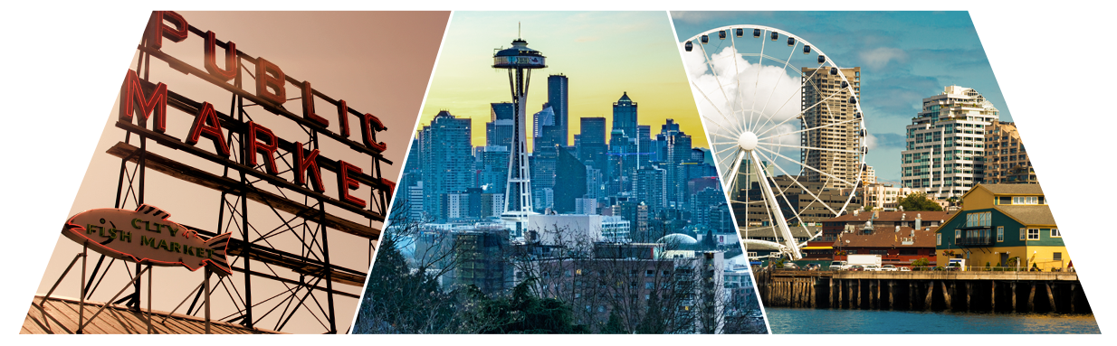 Seattle vector city scape. App growth summit